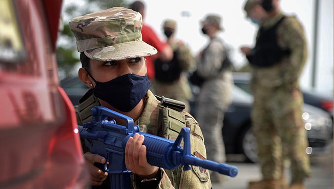 Airman Carol T. Martinez participates in Tactical Combat Casualty Care training