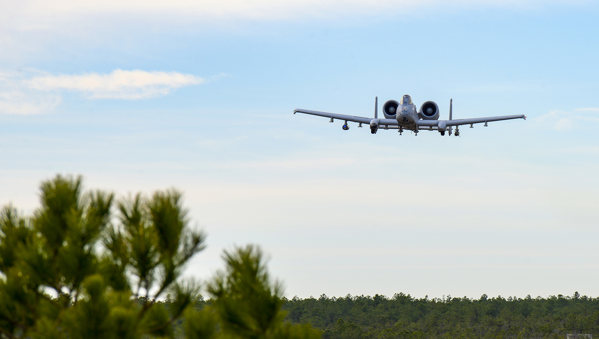 A-10 Thunderbolt II flies over Warren Grove Range