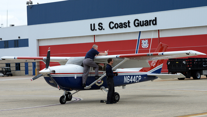 Civil Air Patrol pilots prepare a Cessna 182 Skylane for flight May 24, 2017, at Atlantic City International Airport, N.J. The Civil Air Patrol participated in a Cross Tell Media flight to help increase general aviation awareness. (U.S. Air National Guard photo by Airman 1st Class Cristina J. Allen/Released)