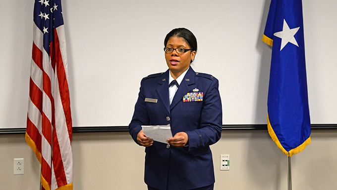 Airman swears in as first African-American female chaplain at the 177th Fighter Wing