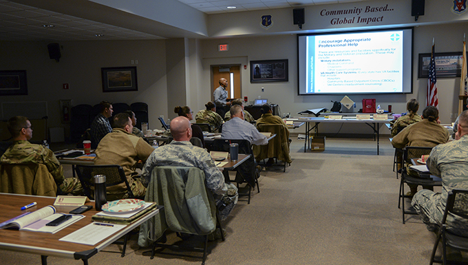 A picture of Airmen with the 177th Fighter Wing attending a Mental Health First Aid training course Feb. 12, 2020, at the Atlantic City Air National Guard Base, N.J.